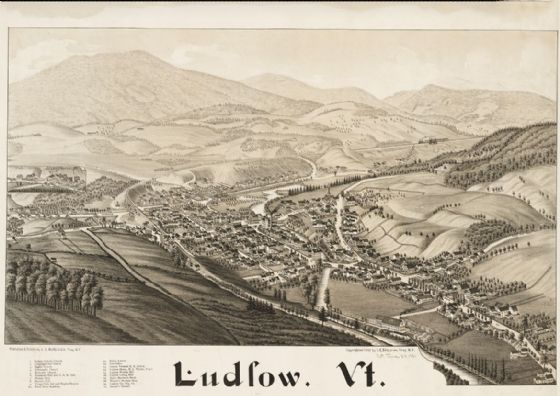 Map Of Ludlow Vermont 1885. Print/Poster (4886)